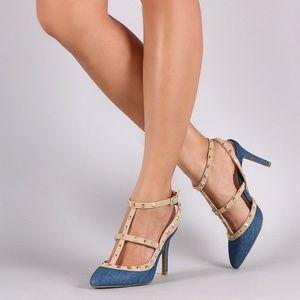 🆕️💋Blue Denim Pointed Toe Multi T Strap Studded